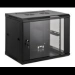"""Intellinet 19"""" Wallmount Cabinet, 9U, 500 (h) x 600 (w) x 450 (d) mm, Max 60kg, Assembled, Black"""