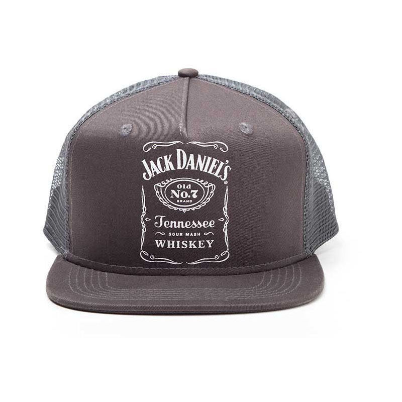 JACK DANIEL'S Printed Label Logo Trucker Snapback Baseball Cap, One Size, Black (SB201414JDS)