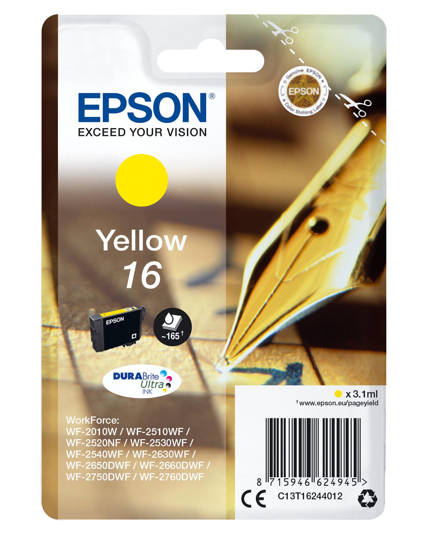 Epson Pen and crossword Singlepack Yellow 16 DURABrite Ultra Ink