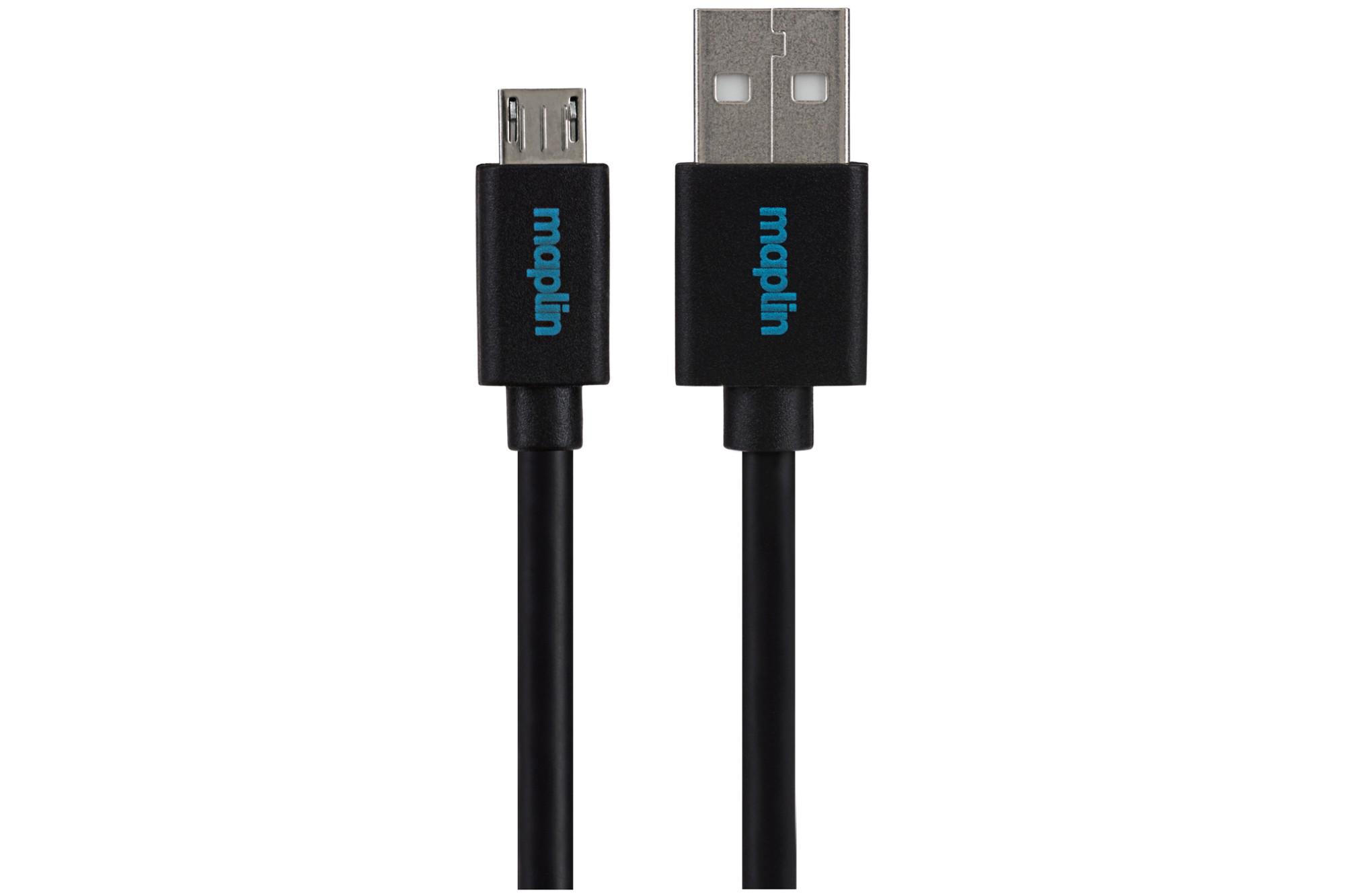 MAPLIN Premium USB A 2.0 Male to Micro USB B Male Cable 3m Black