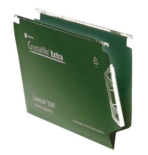 Rexel Crystalfile Extra `330` Lateral File 15mm Green (25)