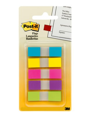 Post-It Flags, Assorted Bright Colors, 1/2 in Wide, 100/On-the-Go Dispenser 100sheets self adhesive flags