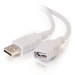 C2G 2m USB 2.0 A Male to A Female Extension Cable - White
