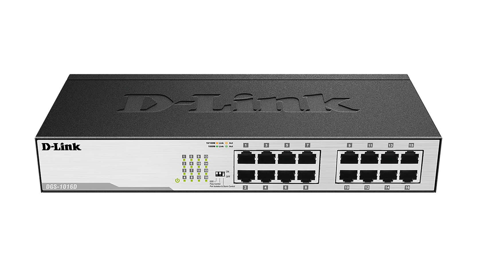 D-Link DGS-1016D switch No administrado Gigabit Ethernet (10/100/1000) Negro, Plata 1U