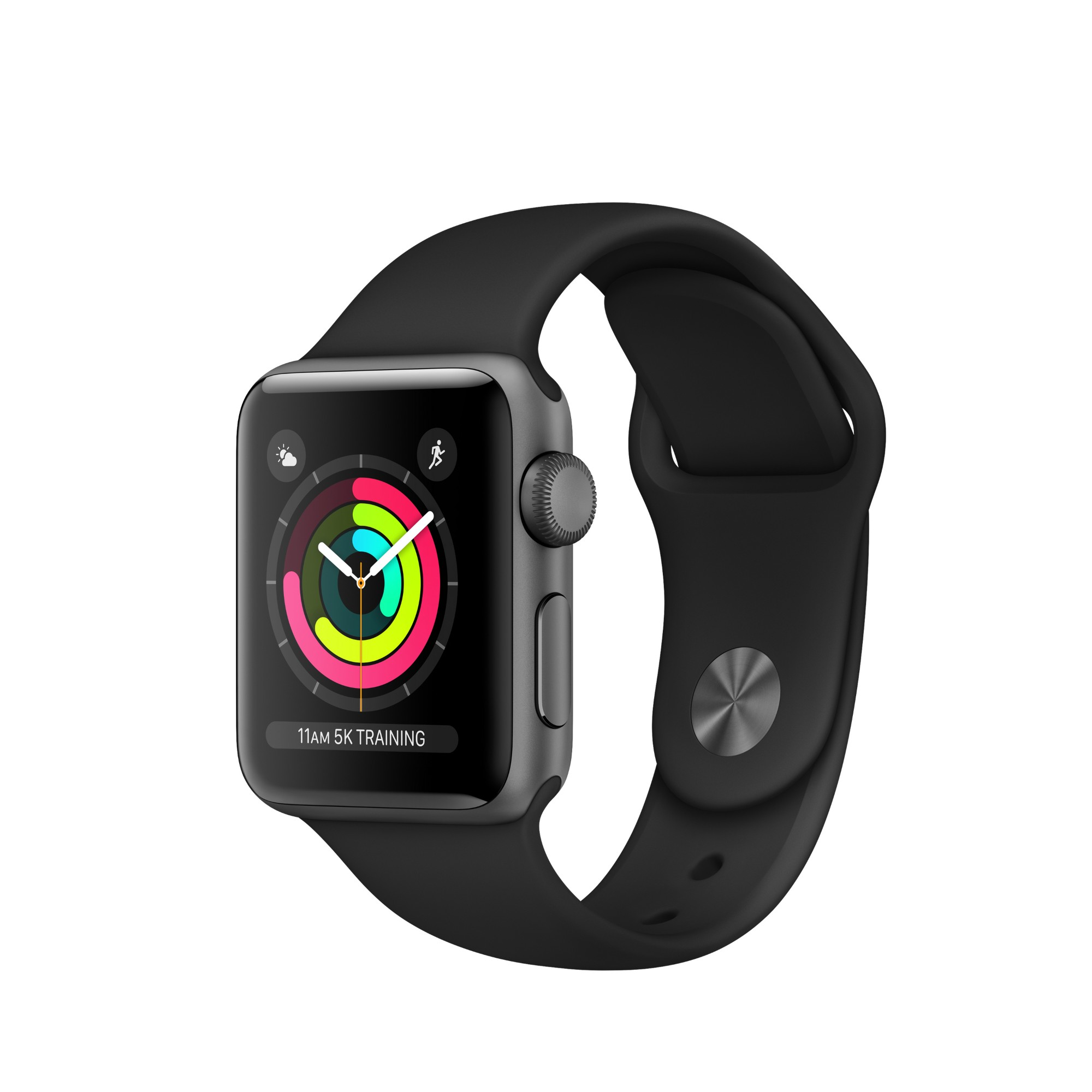 Apple Watch Apple�� Series�� 3 GPS, 38mm Space Grey Aluminium Case with Black Sport Band
