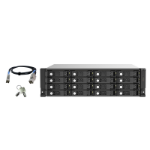 "QNAP TL-R1620SEP-RP 256TB (Seagate Exos) 16-bay 3U rackmount SAS 12Gbps JBOD expansion enclosure with SAS expander; 2.5/3.5 SAS 12Gbps & SAS/SATA 6Gbps drives; 4 x SFF-8644 Mini-SAS HD ports; redundant PSU HDD/SSD enclosure Black, Grey 2.5/3.5"""