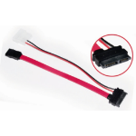Astrotek Slim SATA 6p+7p/4p+7p (0.5m + 0.1m) SATA cable Red