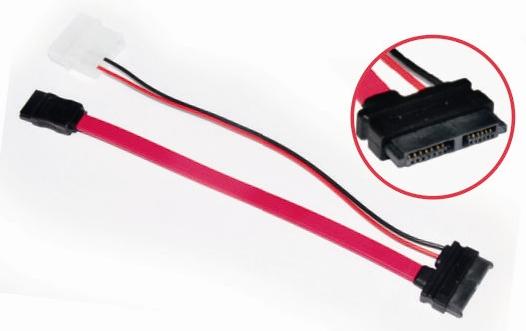 Astrotek Slim SATA 6p+7p/4p+7p (0.5m + 0.1m) SATA cable Red
