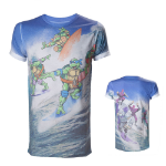 TEENAGE MUTANT NINJA TURTLES (TMNT) Adult Male Surfing Turtles All-Over Sublimation T-Shirt, Small, Multi-Colour (TS2DS7TMT-S)