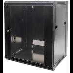 """Intellinet 19"""" Wallmount Cabinet, 12U, 635 (h) x 570 (w) x 450 (d) mm, Max 60kg, Flatpack, Black"""