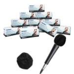 Hamilton Buhl HygenX Sanitary Disposable Microphone Covers - Black, Master Carton 12 Boxes Of 100