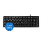 V7 KU100IT Standard Keyboard (IT, Italian, USB, Media-Hot-Keys) black, 10 pack bundle