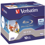 Verbatim BD-R DL 50GB 6x Wide Printable 10 Pack Jewel Case No ID Brand BD-R 50GB 10pc(s)