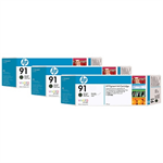 HP C9480A (91) Ink cartridge black matt, 775ml, Pack qty 3
