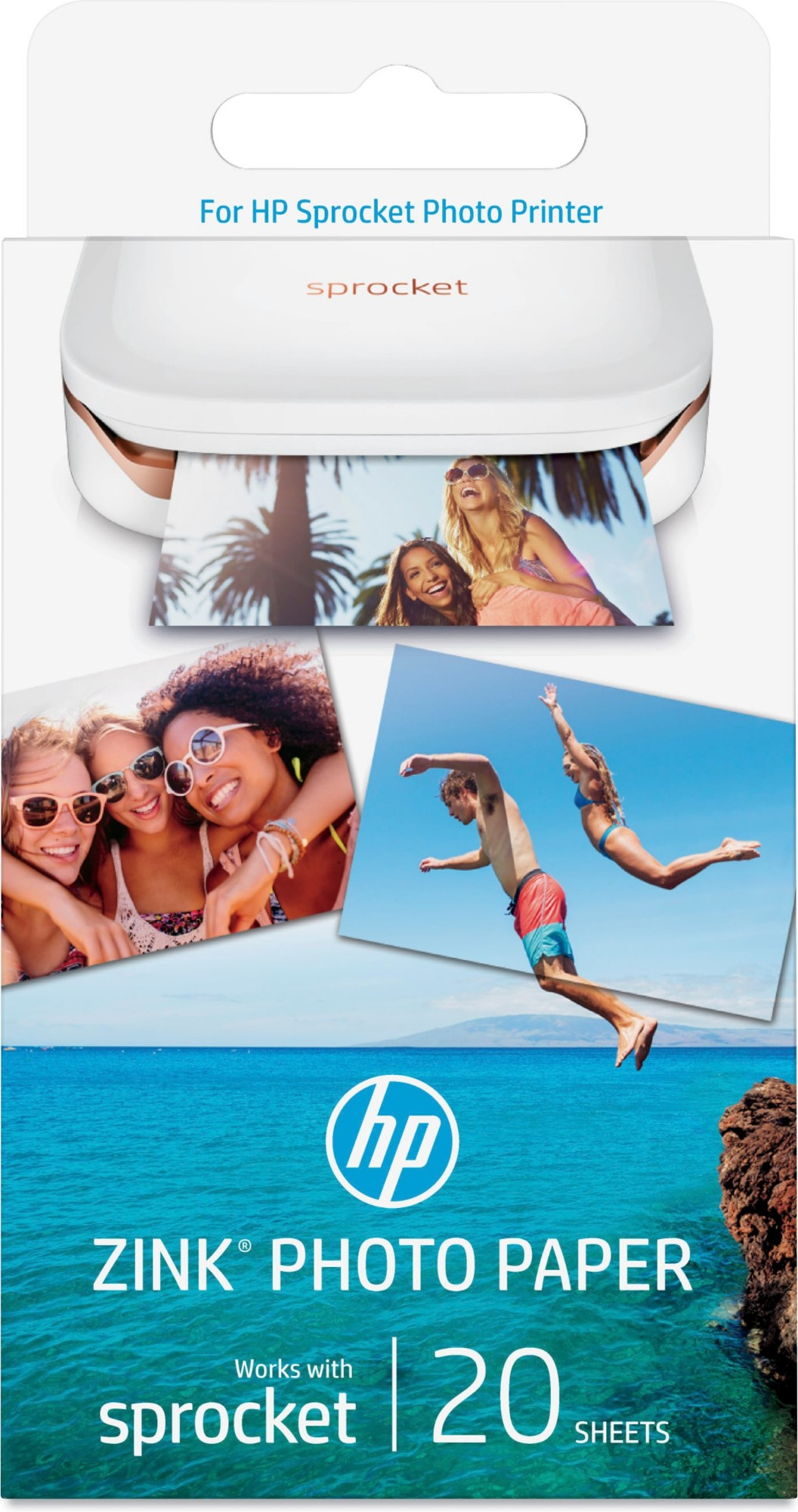 HP ZINK Sticky-backed 20 sht/2 x 3 in papel fotográfico Blanco Brillo