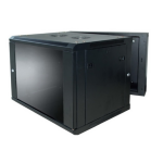LinkBasic 9U, 600x550x501mm, Smokey-gray glass door with hinged rear access Cabinet, Black