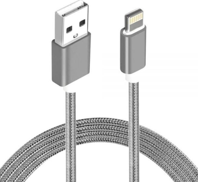 Astrotek 2m USB Lightning Data Sync Charger Grey White Color Cable for iPhone 7S 7 Plus 6S 6 Plus 5 5S iPad Air