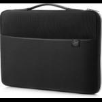 "HP 15 notebook case 39.6 cm (15.6"") Sleeve case Black, Silver"