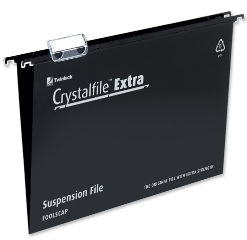 Rexel Crystalfile Extra Foolscap Suspension File 15mm Black 25
