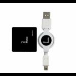 Urban Factory Crazy Hub USB 2.0, 4 ports retractable cable Black