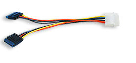 Manhattan SATA Power Y Cable, 4 pin to 2 x 15 pin, Male to Male, 15cm, Polybag