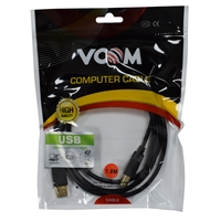 VCOM USB 2.0 A (M) to USB 2.0 B (M) 1.8m Black Retail Packaged Gold Plated Printer/Scanner Data Cable