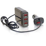 C2G 4-Port USB Car Charger with Extension for Passengers, 5.8A Output