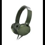 Sony XB550AP Head-band Binaural Wired Green mobile headset