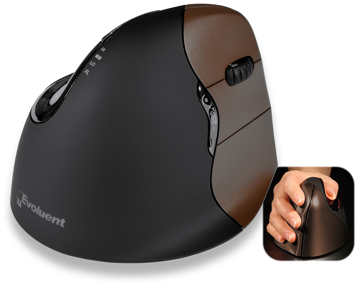 Evoluent VerticalMouse 4 RF Wireless+USB Optical Right-hand Black,Brown mice
