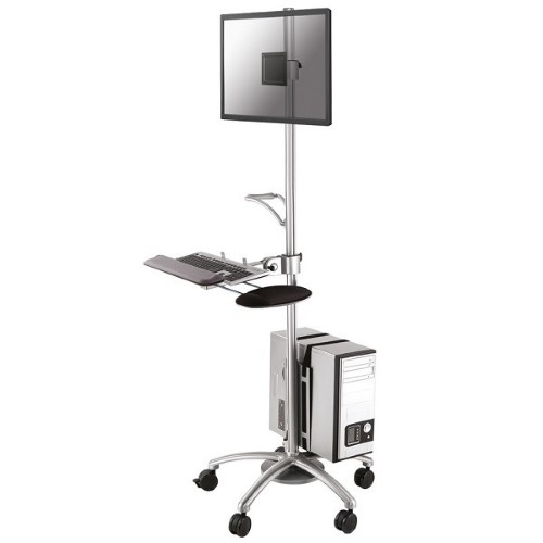 "Newstar Mobile Work Station Floor Stand for monitor (10""-27""), keyboard, mouse & PC - Silver"