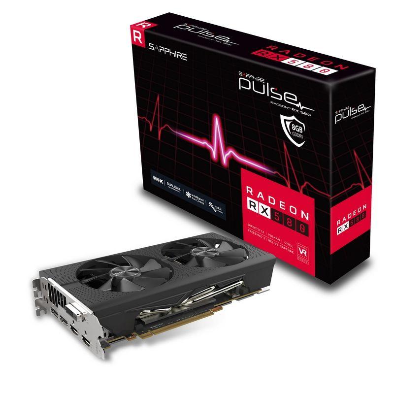 Video Card Radeon Rx 580 8GB Gddr5 Pulse Pci-e 2xhdmi DVI-d 2xdp Oc W/bp