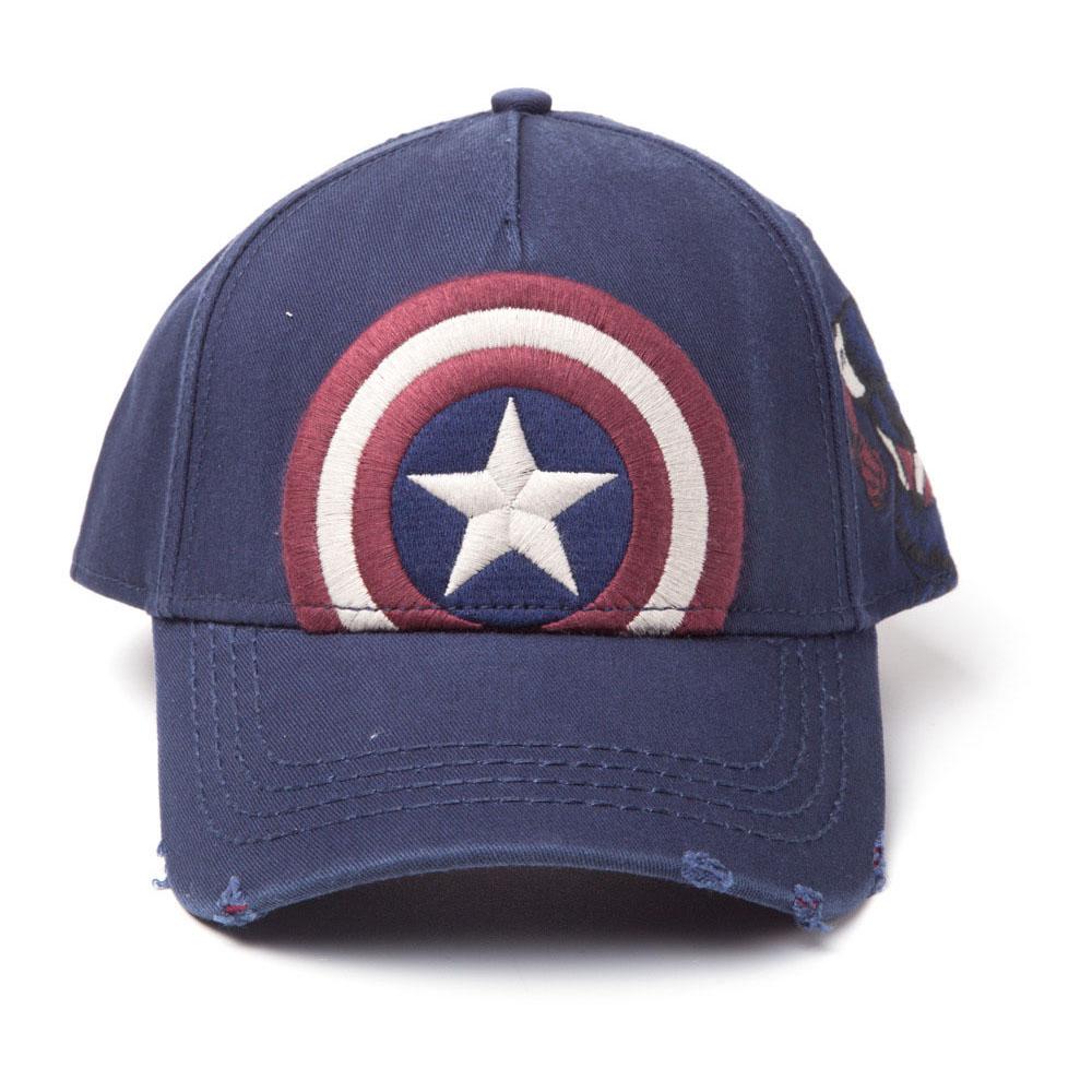 Marvel Captain America Embroidered Vintage Shield Adjustable Cap, Blue (SB177804MAR)