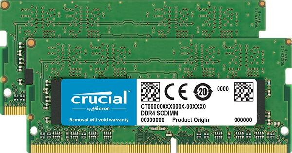 Crucial - DDR4 - 32 GB: 2 x 16 GB - SO-DIMM 260-pin - 3200 MHz / PC4-25600 - CL22 - 1.2 V - unbuffer