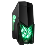 GameMax Destroyer Gaming PC Case with 3 x 12cm 15 Green LED fans & 1 x 12cm 4 LED Rear