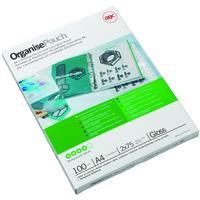 GBC Organise Laminating Pouches 2x75 Micron Gloss A4+ (100) laminator pouch