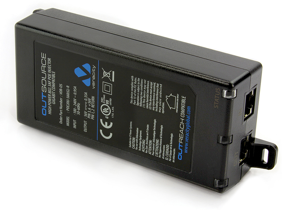 Veracity VOR-OS Outsource PoE Injector Single Port midspan 15/20W