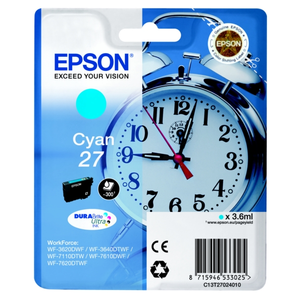 Epson C13T27024012 (27) Ink cartridge cyan, 300 pages, 4ml