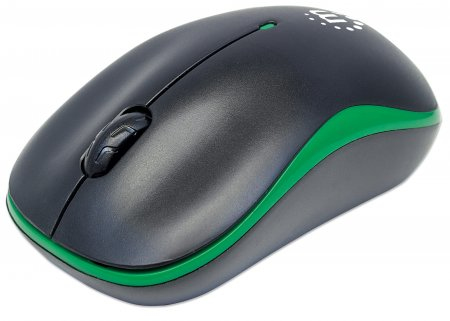 Manhattan Success Wireless Mouse, Black/Green, 1000dpi, 2.4Ghz (up to 10m), USB, Optical, Three Button with Scroll Wheel, USB micro receiver, AA battery (included), Low friction base, Blister