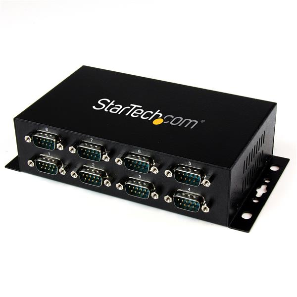 StarTech.com 8 Port USB to DB9 RS232 Serial Adapter Hub – Industrial DIN Rail and Wall Mountable I