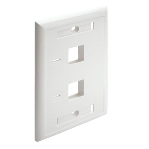 Tripp Lite 2-Port Dual Outlet RJ45 Universal Keystone Face Plate / Wall Plate, White