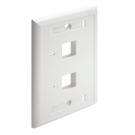 Tripp Lite 2-Port Dual Outlet RJ45 Universal Keystone Face Plate / Wall Plate, White
