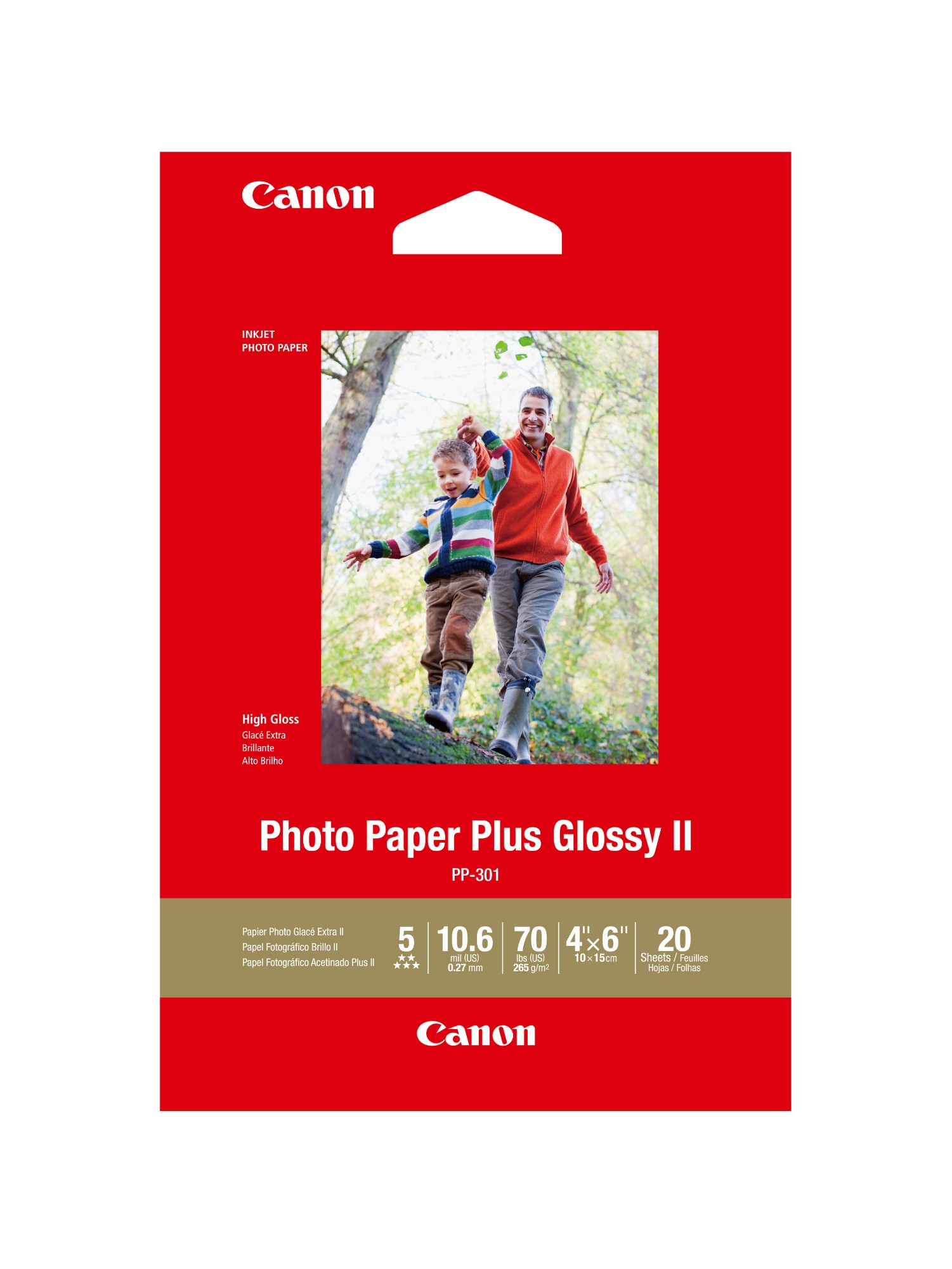 Canon PP3014X6-20, 20 Sheets, 260 gsm Photo Paper Plus Glossy II