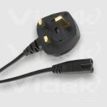 Videk Figure 8 F to UK Mains Plug Power Cable 1.8m Black