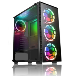CIT Raider Mid Tower 1 x USB 3.0 / 2 x USB 2.0 Tempered Glass Side & Front Window Panels Black Case