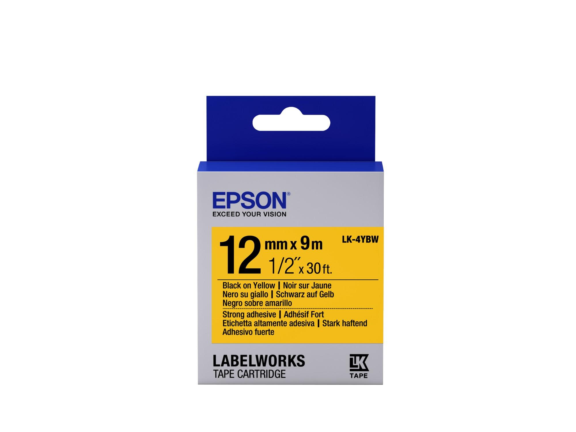 Epson Cinta adhesiva resistente - LK-4YBW cinta adhesiva resistente negra/amarilla 12/9