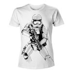 Star Wars VII The Force Awakens Men's Armed Stormtrooper Sketch T-Shirt, Medium, White (TS204394STW-M)