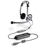 Plantronics Audio 400DSP Semi-Open stereo Headset. Foldable style binaural with inline vol and mute; noise cance