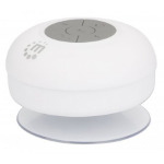 Manhattan Bluetooth Shower Speaker (Clearance Pricing), Waterproof design with suction-cup mount, Omnidirectional Mic, Integrated Controls, 5 hour Playback time, Range 10m, Output 3W, USB-A charging cable included, Bluetooth v4.0, White, 3 Years Warranty,
