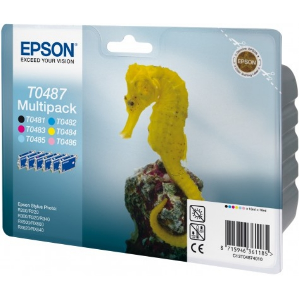 Epson C13T04874020 (T0487) Ink cartridge multi pack, 630pg + 5x430pg, 6x13ml, Pack qty 6