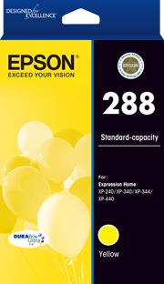 EPSON 288 Std Capacity DURABrite Ultra Yellow ink, XP-240, XP-340, XP-344, XP-440